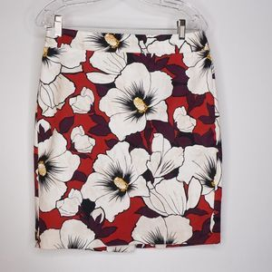 Ann Taylor Factory Floral Print Pencil Skirt